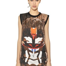 GIVENCHY - SLEEVELESS MATTE SILK SATIN SHIRT