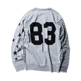 uniform experiment - NUMBERING STAR PANEL BORDER CREW NECK KNIT