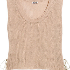 miu miu - Lace-trimmed open-knit cotton tank