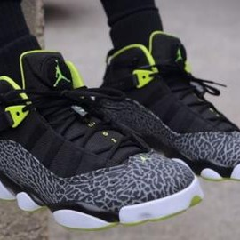 Nike - NIKE JORDAN 6 RINGS BLACK/VENOM GREEN-WHITE-CEMENT GREY