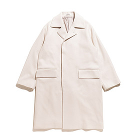 AURALEE - Wool Silk Melton Soutien Collar Coat-White