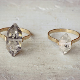 LUMAFINA - Image of Herkimer Diamond Ring / Gold Fill Band