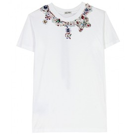 miu miu - White t-shirt with pearl and crystal beaded appliqué