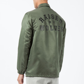 Raised By Wolves - Olive Drab College Coaches Jacket