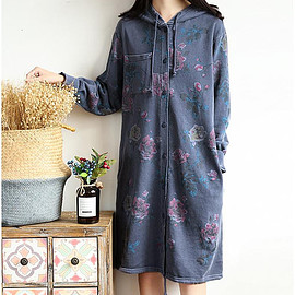 Dresses - Cotton print dress Large size hooded Long sleeves dress single breasted long Bottoming dress