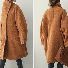 Loose Fitting wool overcoat, Stand collar wool long coat