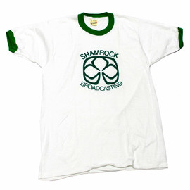 VINTAGE - Vintage 1980s Shamrock Broadcasting Ringer Tee Made in USA Mens Size Medium (Slim Fit)