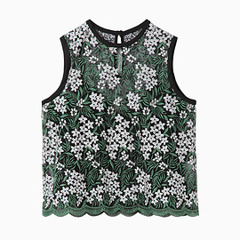mame - Tulle Embroidery & Scala Tops - green