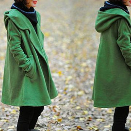 wool maxi Coat - Wool Coat, winter Coat, maxi Coat, Grass green Coat,Wool cape with hooded, womens coats