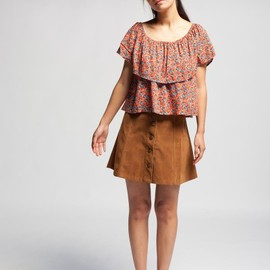 Mink Pink - High waisted flare corduroy skirt
