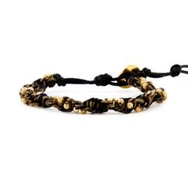Chan Luu - The Twisted Gold Vermeil Nugget and Olive Mix Single Wrap Bracelet
