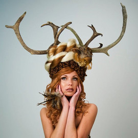 barbiemommie - Artistic Real Animal Antler Headdress Headpiece