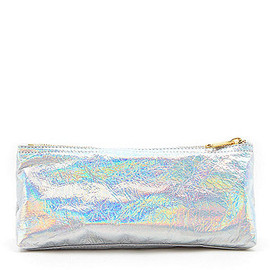 American Apparel - Leather Makeup Pouch (Silver Foil Suede)