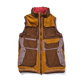 White Mountaineering - CORDUROY COLOR MIX LUGGAGE VEST