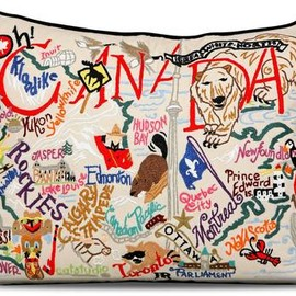 The Roots - TRUE Roots' Canada Pillow captures our home and native land in one cozy package. The patriotic cushion is embroidered with a colourful medley of images that includes the Rockies, the CN Tower, Parliament Hill and a menagerie of wildlife from lobster to loon. A good way to avoid homesickness on the road, the pillow could come in handy on long journeys. $235