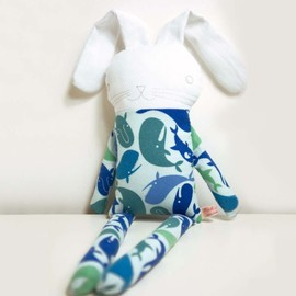 Luulla - sweet softie rabbit in pyjama flannel * blue