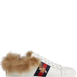 GUCCI - SS2018 NEW ACE LEATHER & FUR SNEAKERS