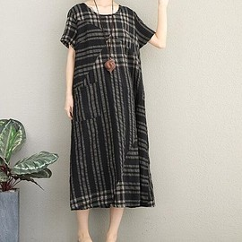 striped long dress - linen dress Loose Dress summer Dress Black striped long dress Short sleeve Casual dress maxi dress