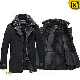 CWMALLS - CWMALLS® London Shearling Sheepskin Coat for Men Black CW855567 [Patented Product, Made to Order]