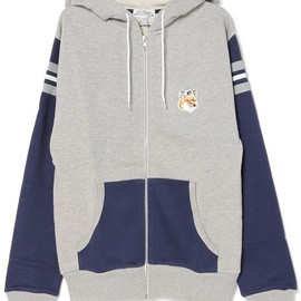 KITSUNE TEE - STRIPES AND PATCH ZIPPED HOODIE(パーカー)