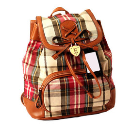 bag - [grxjy520169]Retro Classical Sweet Bowknot Plaid Backpack