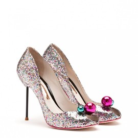 SOPHIA WEBSTER - LOREN SILVER AND MULTI GLITTER PEEP TOE PUMP