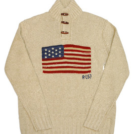 POLO RALPH LAUREN - USA FLAG BUTTON MOCKNECK SWEATER