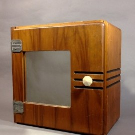 "アメリカン・アールデコ - 1920-30's ""Barber Shop"" Art Deco Wood Cabinet"