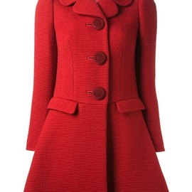 RED VALENTINO - ribbed a-line overcoat