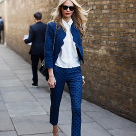 polka dot pants and a scalloped edge jacket