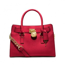 MICHAEL KORS - MICHAEL Michael Kors Hamilton Medium Saffiano Leather Satchel Red