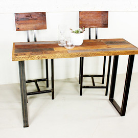 what WE make - reclaimed patchwork wood hall table with metal legs industrial side tables and accent tables