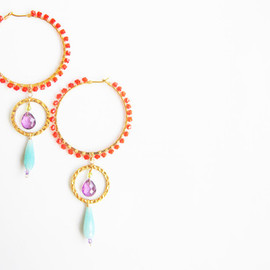 Ostara - Amazonite Double Dangle Hoop Earrings