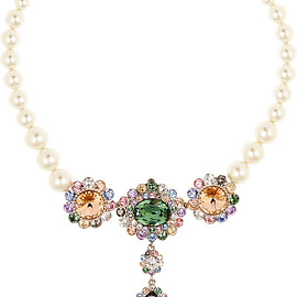miu miu - Palladium-tone, faux pearl and Swarovski crystal necklace