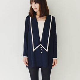 Vintage navy and white tuxedo mini dress