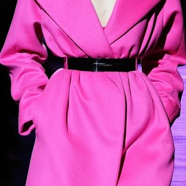 Versace - hot pink coat.