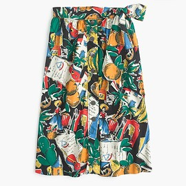 J.CREW - A-line button-up skirt in postcard print