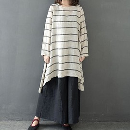 striped shirt - loose linen top, women blouse, striped shirt, linen tunic, Linen Shirt for Women