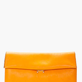 MARNI - burnt orange Padded Leather Clutch