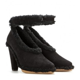 Chloé - Suede pumps with shearling trim