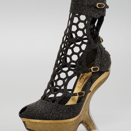 Alexander McQueen - Metallic Sugar Honeycomb Wedge Boot