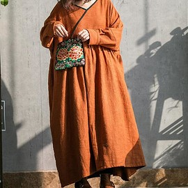 oversized dress - Cotton linen maxi long sleeve dress, caramel colour oversized dress, women Everyday loose robe
