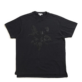 ENGINEERED GARMENTS - Printed Cross Crew Neck T Shirt-Floral-Dk.Navy