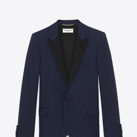 SAINT LAURENT - ICONIC LE SMOKING CROPPED JACKET IN NAVY BLUE GRAIN DE POUDRE TEXTURED WOOL