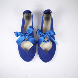 elehandmade - Handmade Heart Shaped Royal Blue Ballet Flats Shoes