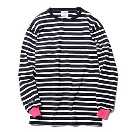 SOPHNET. - BARBARIAN COLOR RIBBED LONG SLEEVE BORDER TEE