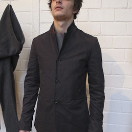 M.A+ - 3-button stand collar blazer with buttoning cuffs and single vent