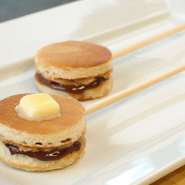 Pancake sandwiches on a stick