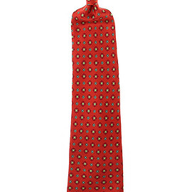 Kiton - red silk patterned tie seven fold