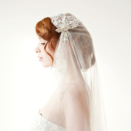 Sibodesigns - Tule cathedral length veil, lace, bridal cap - Touch of Love - Made to Order